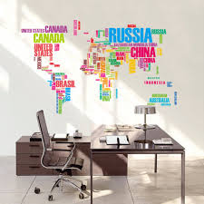 World Map Wall Decor by World Map Letters English Colour Wall Sticker For Tv Livingroom
