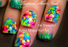 neon pink flower nails tropical plumeria nail art design