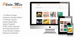 free responsive html templates photomin responsive html template by zerge themeforest