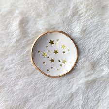 gold star confetti polymer clay jewelry dish foil star jewelry