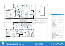 floor plan 3 bedroom type 3ma yas acres villas yas island