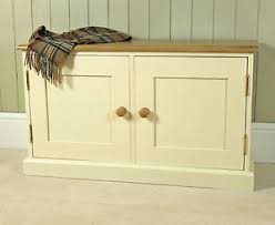 Oak Storage Bench Two Door Oak And Pine Low Cupboard Cabinet Shoe And Toy Storage
