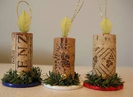 wine cork and chip candle ornament trio for wine