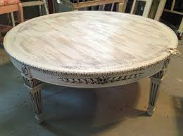 Painted Wood Coffee Table Coffee Table Round Coffee Table Shabby White Ivory Distressed