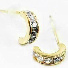 earring studs with loop gold plated sterling silver clear cz kite shape design