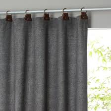 Wool Curtains Nelson Tweed Look Leather Tab Single Curtain Cosy Window And