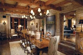 rustic dining room with hardwood floors u0026 wall sconce in