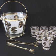 Spode Christmas Tree Martini Glasses Set 4 by Vintage Mid Century Fleur De Lis Ice Bucket Stand Six Shot Glasses