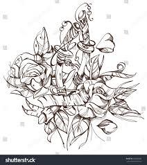 swords roses sketch tattoo stock vector 364240007 shutterstock