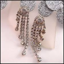 rhinestone chandelier earrings chandelier rhinestone earrings pierced midi waterfalls vintage jewelry