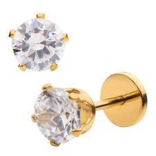 earrings you can sleep in 14k gold prongs crystals and gold