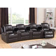 Fabric Recliner Sofa 4 Seater Fabric Recliner Sofa Leather Seat Home Theater Black Nz