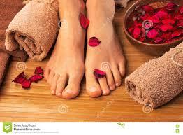 beautiful female feet spa salon pedicure procedure stock photo