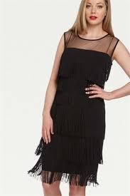 embellished fringe flapper dress in black romanoriginals co uk