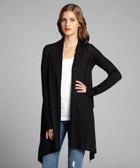 Black Drape Front Cardigan Bcbgmaxazria Black Cotton Draped Open Front Long Sleeve Cardigan