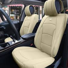 lexus visa pu car suv truck pu leather seat cushion covers front bucket seats beige