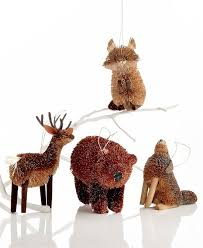 bristle woodland animal tree ornaments foxes and