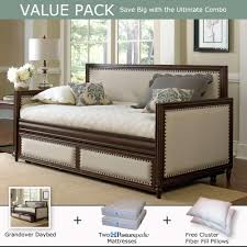 Daybed With Trundle And Mattress Grandover Wood Upholstered Daybed Trundle Sealy Mattress Value
