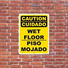 spanish floor spanish english caution wet floor sign or sticker 17