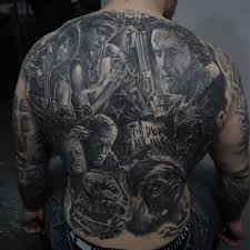jdm tattoo sleeve fan gets gigantic u0027walking dead u0027 mural tattooed on his back photos