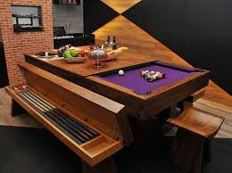 pool table converts into beautiful dining room table bench seat