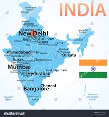 Correct World Map by India Vector Map Carefully Scaled Cities Stock Vector 214910788