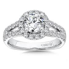platinum halo engagement rings caro74 halo engagement ring with split shank and