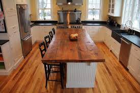 Kitchen Island Furniture Style Rectangle Brown Reclaimed Wooden Butcher Block Top Over White