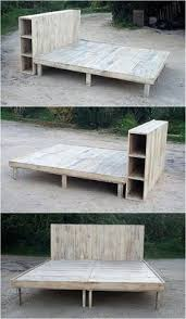 repurposed pallets bed frame with storage option wood pallet
