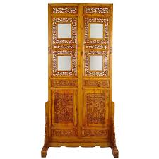 chinese antique open carved screen room divider w stand home