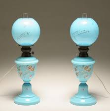 antique kerosene l globes pair blue bristol glass converted oil ls hand painted floral and