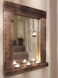 wooden wood mirror with shelf handmade reclaimed wood pine