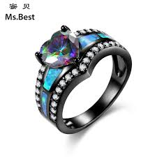 opal rings unique images Heart shaped blue fire opal ring for women unique personalized jpg