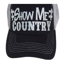 show me country black silver bling tucker style hat show me country