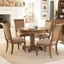 5 piece round pedestal dining table u0026 side chairs with upholstered