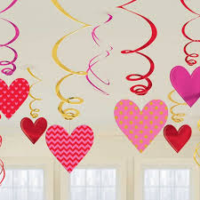 heart decorations 12 x valentines hearts hanging swirls decorations bumper value