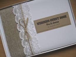 vintage wedding guest book burlap guipure lace personalised wedding guest book vintage chic