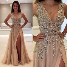 chagne prom dresses v neck prom dress sparkly prom dresses