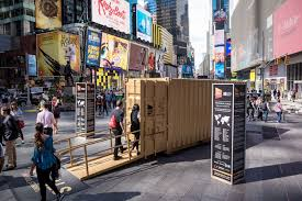 right now a golden shipping container in times square is