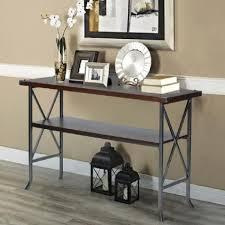 table de bureau en bois console meuble table de bureau à 2 étages en bois marron achat