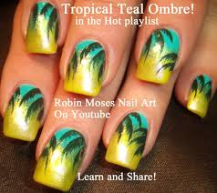 easy tropical palm tree nail design summer nail art design