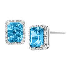 blue topaz stud earrings 4 3 4 swiss blue topaz 1 10 ct diamond stud earrings in