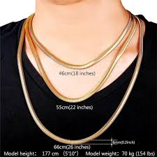 length mens necklace images U7 men necklace 18k gold color stainless steel mens snake chain jpg