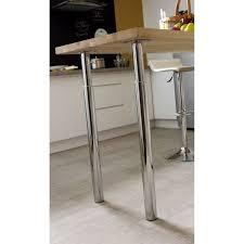 pied inox cuisine pied de plan de travail cylindrique réglable métal chromé gris de