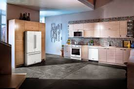 white ice kitchenaid appliances shown in kitchen fridge stove
