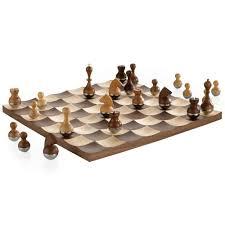 umbra wobble chess set wooden curvy modern collectors gift wood