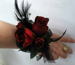 and black corsage black wrist corsage in bloom