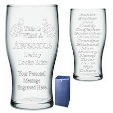 personalised thumbs up u2013 awesome pint glass engraved gift