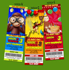 template curious george picture birthday invitations also