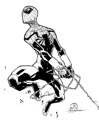 black and white sketches of spiderman superior spider man marker